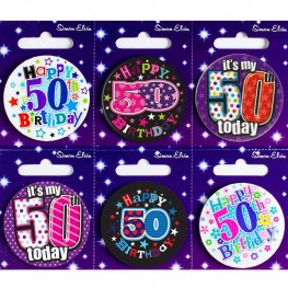 Age 50 Mixed Small Badges x6