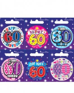 Age 60 Mixed Small Badges x6