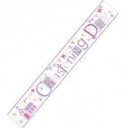 Happy Christening Girl Holographic Banner