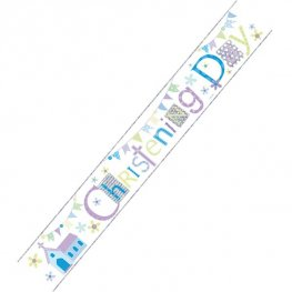 Happy Christening Boy Holographic Banner