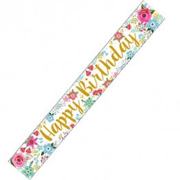 Happy Birthday Flowers Banner