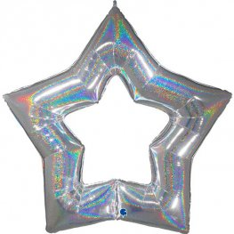 "48"" Silver Linky Star Glitter Holographic Balloons"
