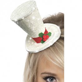 White Christmas Top Hat Headband
