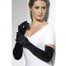 Black Long Velveteen Gloves 53cm