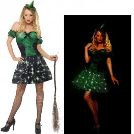 Wicked Light Up Witch Halloween Fancy Dress Costumes