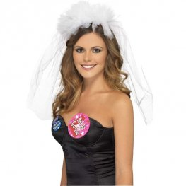 White Hen Night Veil On Headband
