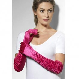 Long Fuchsia Pink Temptress Gloves