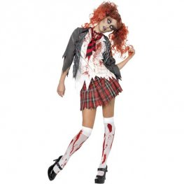 Zombie Schoolgirl Halloween Fancy Dress Costumes