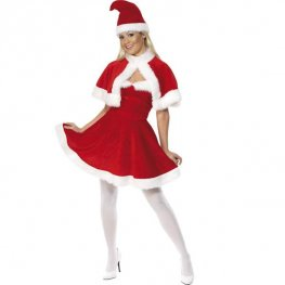 Miss Santa Fancy Dress Costumes Red With White Trim