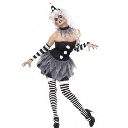 Sinister Pierrot Halloween Fancy Dress Costumes
