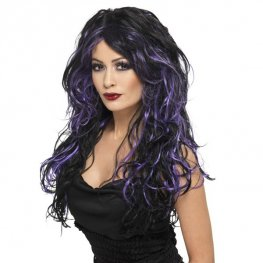 Black And Purple Gothic Bride Wig