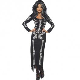 Ladies Skeleton Tube Dress Halloween Fancy Dress Costumes