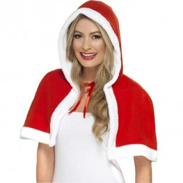 Miss Claus Mini Christmas Cape With Hood