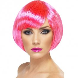 Neon Pink Babe Bob Wigs With Fringe