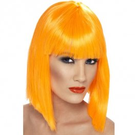 Neon Orange Glam Wigs With Fringe
