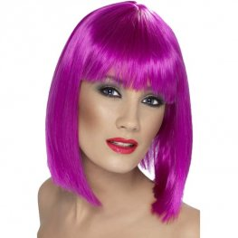 Neon Purple Glam Wigs With Fringe