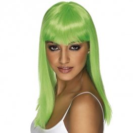 Neon Green Glamourama Wigs With Fringe