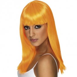 Neon Orange Glamourama Wigs With Fringe