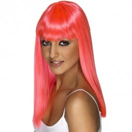 Neon Pink Glamourama Wigs With Fringe