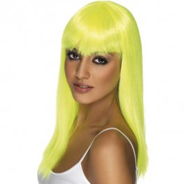 Neon Yellow Glamourama Wigs With Fringe