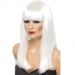 White Glamourama Wigs With Fringe