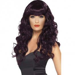 Plum Curly Siren Wigs With Fringe