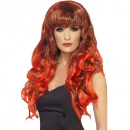 Red And Black Siren Wigs With Fringe