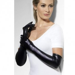 Wet Look Black Gloves