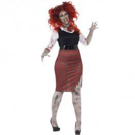 Curves Zombie School Girl Halloween Costume