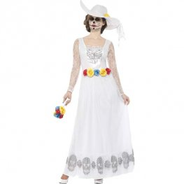 Day Of The Dead White Skeleton Bride Costume