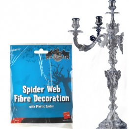 Spider Web Decoration White Fibre with Nest Of Plastic Spide