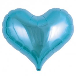 "14"" Metallic Light Blue Jelly Hearts Foil Balloons"