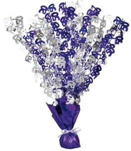 50th Purple And Silver Foil Balloon Weight Centrepiece