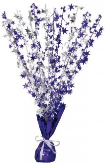 Purple And Silver Stars Foil Balloon Weight Centrepiece