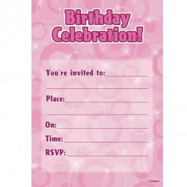 Birthday Celebration Pink Glitz Invitations 16pk
