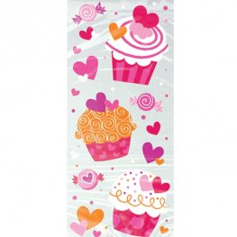 Cupcake Hearts Cello Bags 20pk