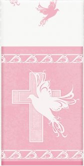 Pink Dove Cross Plastic Tablecover x1