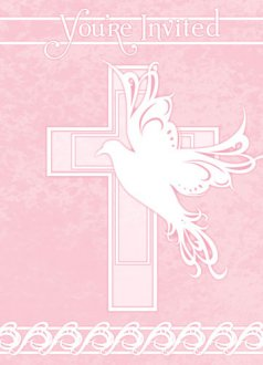 Pink Dove Cross Invitations x8
