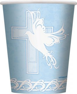 Blue Dove Cross Paper Cups x8