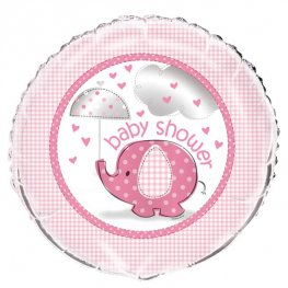 "18"" Pink Baby Shower Umbrella Elephant Foil Balloons"