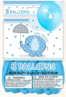 "12"" Baby Shower Umbrella Elephants Latex Balloons 8pk"