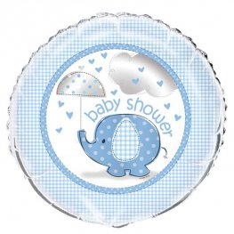 "18"" Blue Baby Shower Umbrella Elephant Foil Balloons"