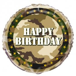 "18"" Happy Birthday Military Camo Foil Balloons"