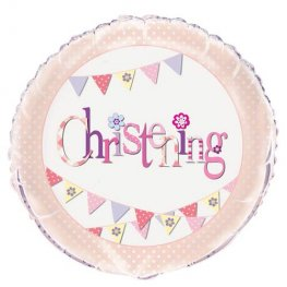 "18"" Christening Pink Bunting Foil Balloons"