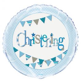 "18"" Christening Blue Bunting Foil Balloons"