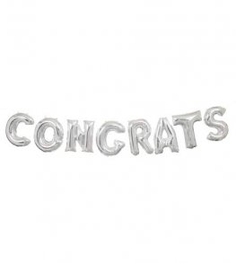 "14"" Silver Congrats Letter Balloons Banner Kit"