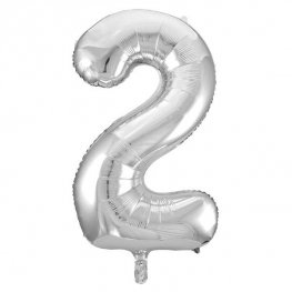 "34"" Silver Glitz Number 2 Supershape Balloons"