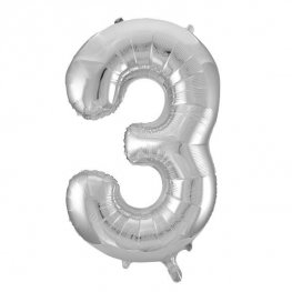 "34"" Silver Glitz Number 3 Supershape Balloons"
