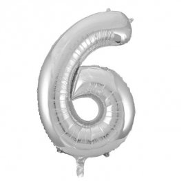 "34"" Unique Silver Glitz Number 6 Supershape Balloons"