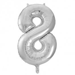"34"" Silver Glitz Number 8 Supershape Balloons"